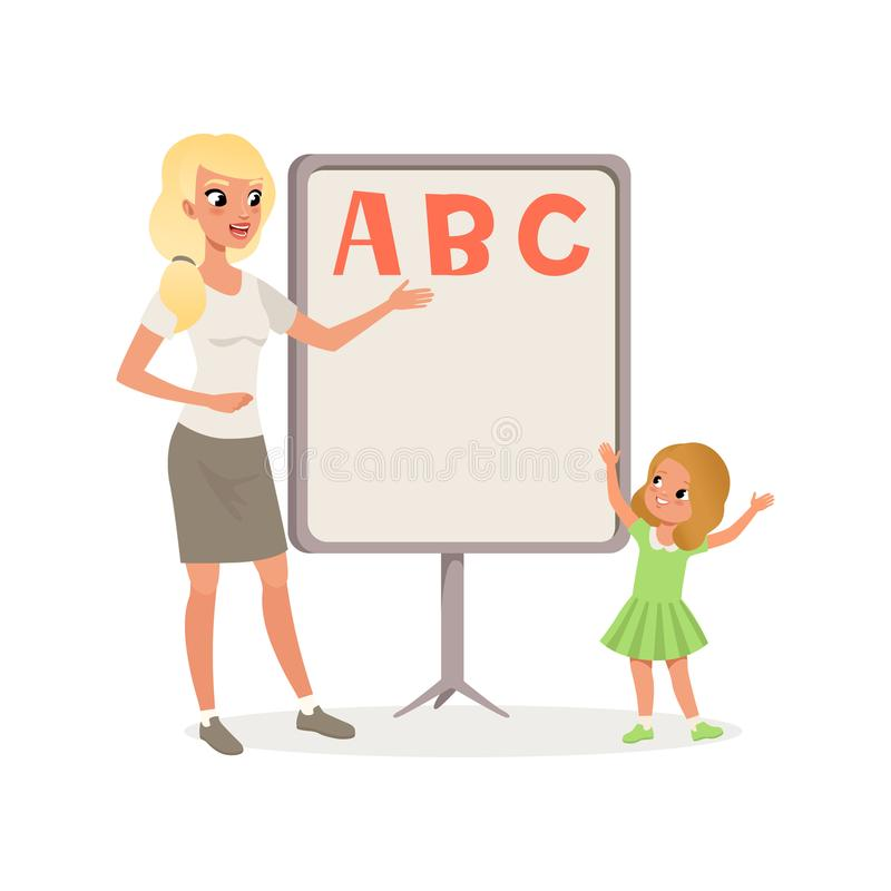 Happy little girl and teacher standing next to blackboard with ABC letters. Kid learning alphabet. Lesson in royalty free illustration
