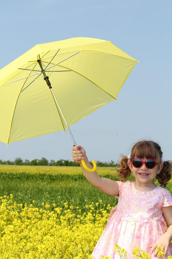 Happy Little Girl With Umbrella Stock Photography