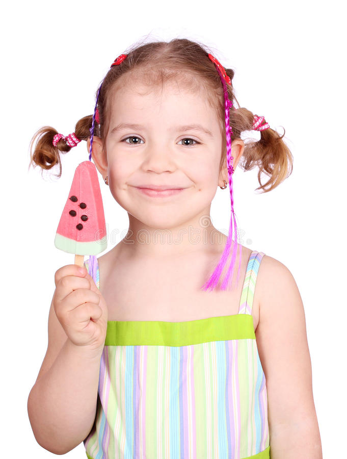 Happy Little Girl With Watermelon Ice Cream Royalty Free Stock Photos