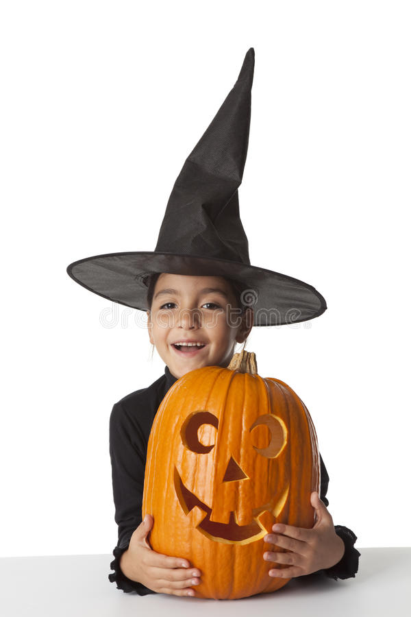 Free Happy Little Girl With A Halloween Pumpkin Royalty Free Stock Images - 11282709