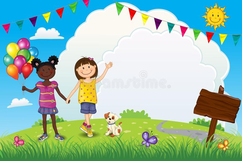 Happy Little Girls With Balloons Outdoors vector illustration