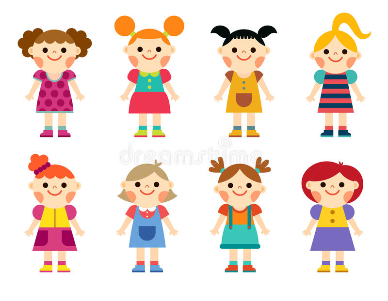 Happy little girls collection set. isolated on white background vector illustration