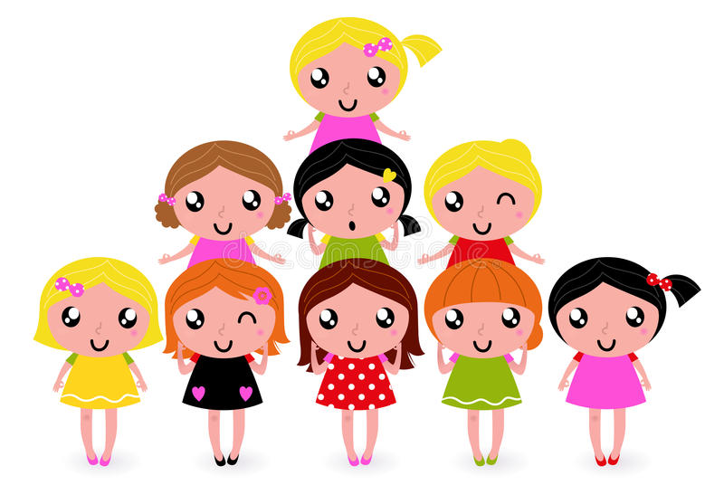 Download Happy little girls group stock vector. Image of female - 25071370