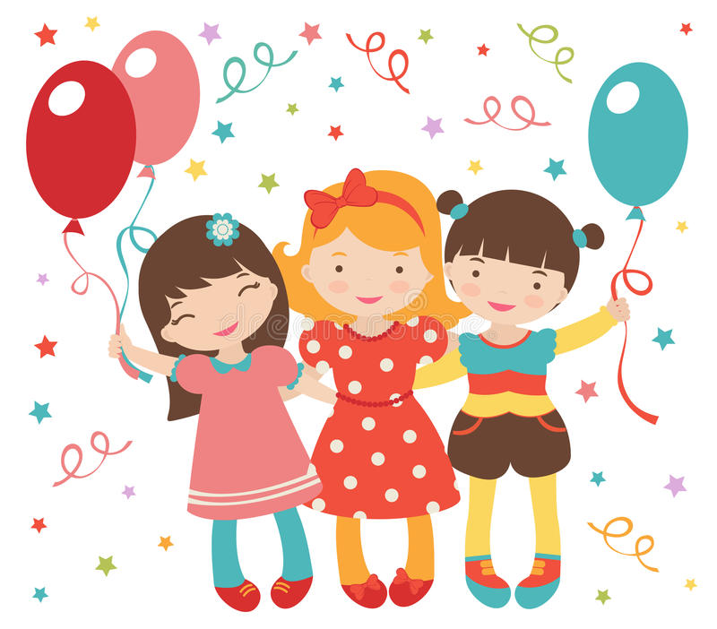 Download Happy Little Girls Having A Party Stock Vector - Image: 27433615