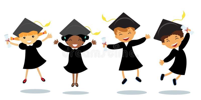 Happy little graduates stock illustration