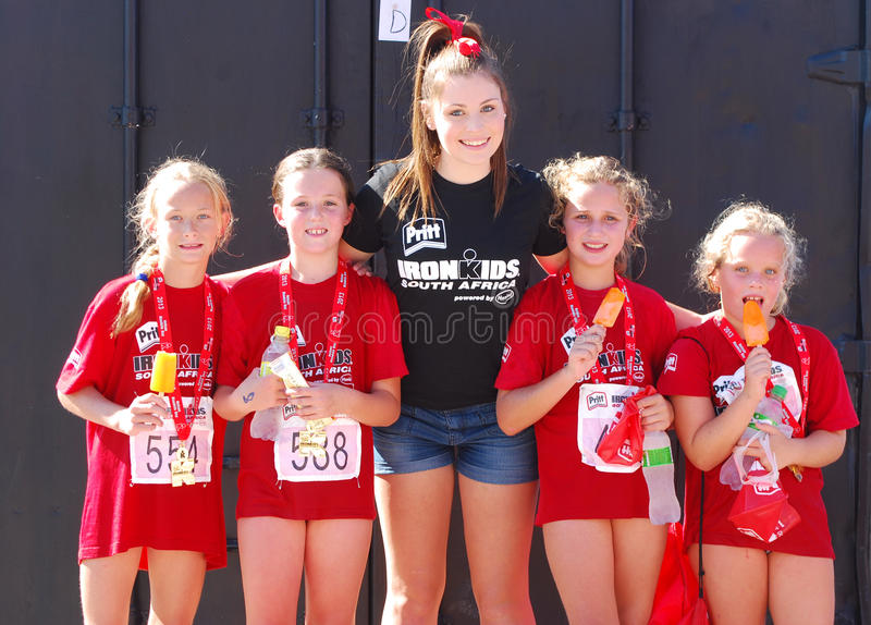 Happy little Ironkids athletes stock photo