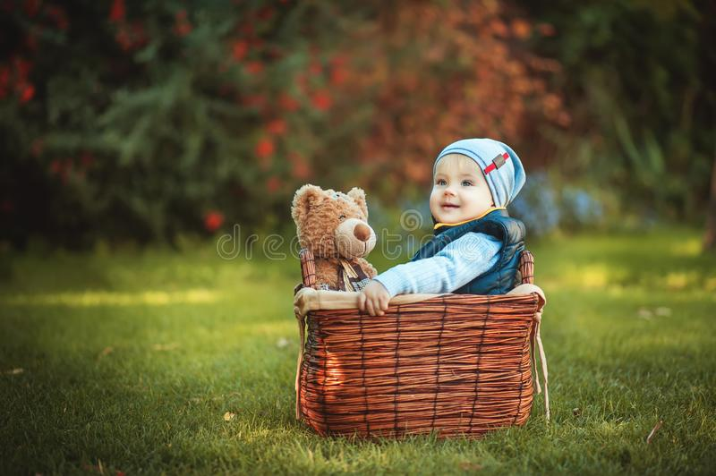 Happy little kid boy playing with bear toy while sitting in basket on green autumn lawn. Children enjoying activity outdoor. stock photography