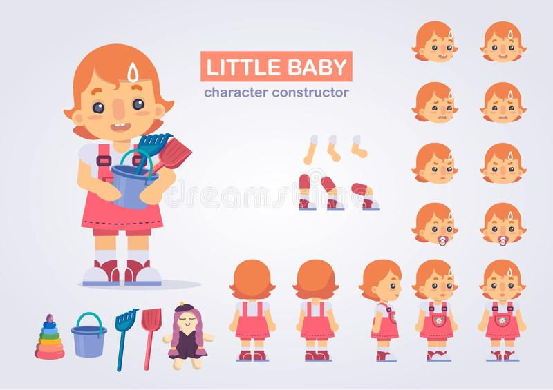 Happy little kid girl character with various views, face emotion vector illustration