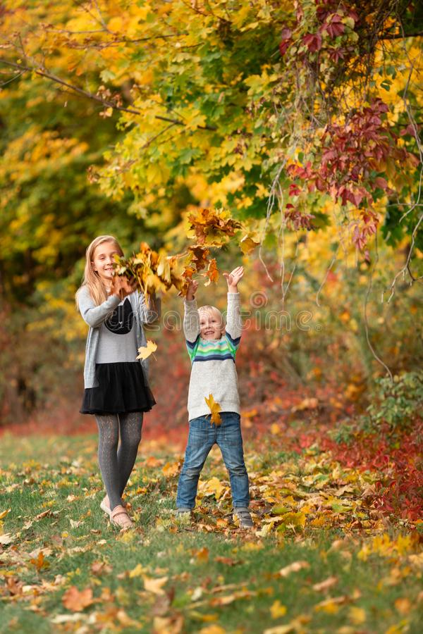 Happy little kids with autumn leaves in the park royalty free stock images