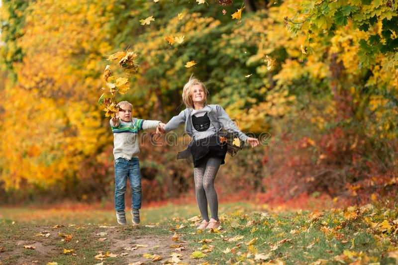 Happy little kids with autumn leaves in the park stock photos
