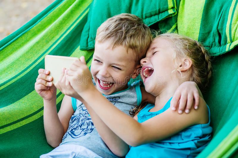 Happy little kids brother and siste stock photography