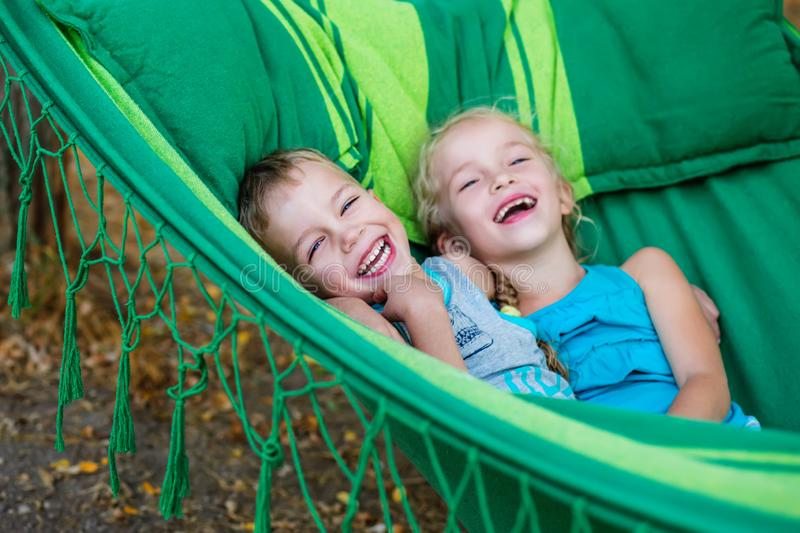 Happy little kids brother and sister royalty free stock photos