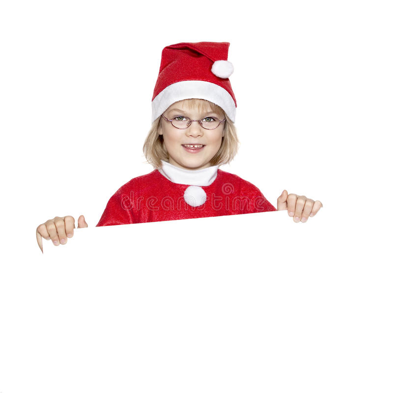 Happy little Miss Santa stock photos
