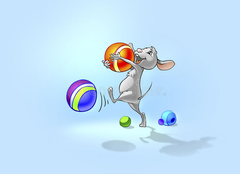 Happy little mouse playing with balls. stock illustration