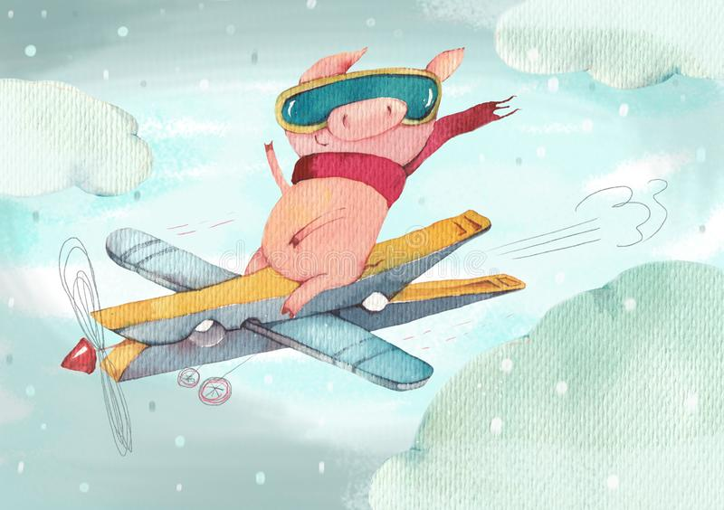 The happy little pig flies on the self-made plane royalty free illustration