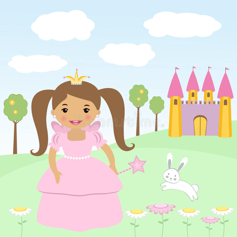 Happy little princess stock illustration