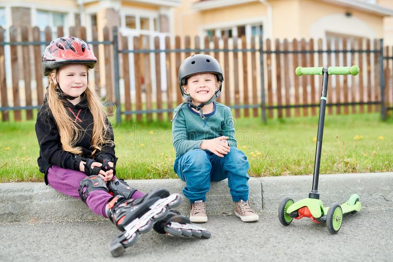 Happy Little Riders Resting stock photography