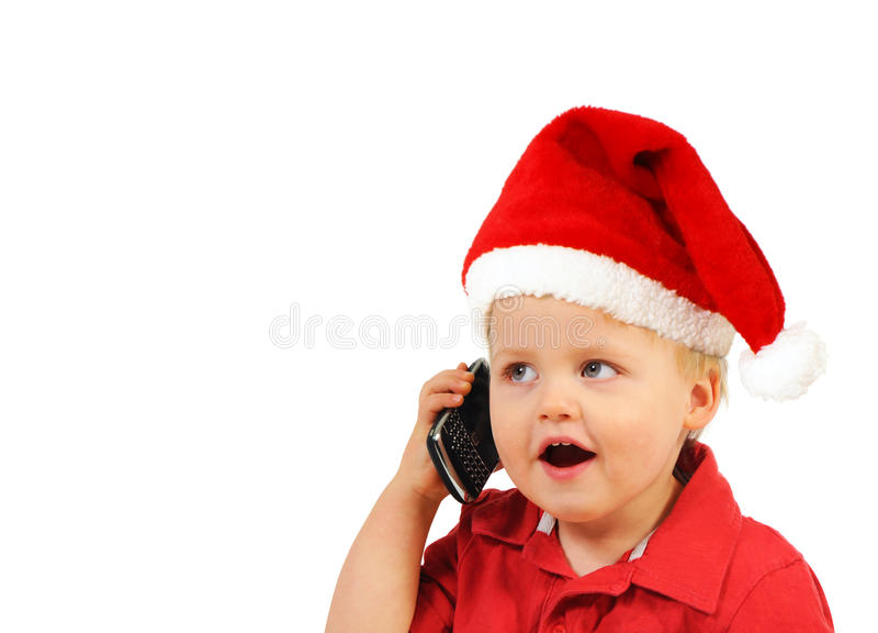 Happy little Santa boy royalty free stock image