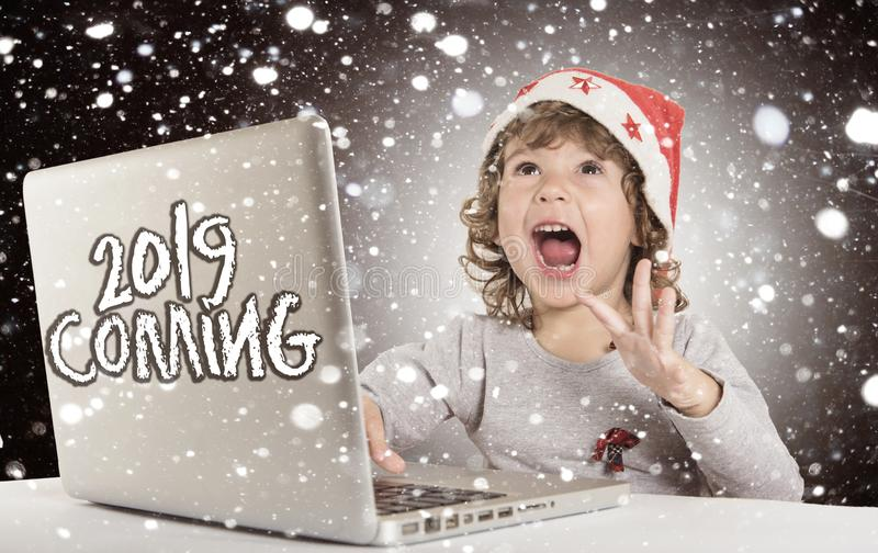 Happy little Santa royalty free stock image