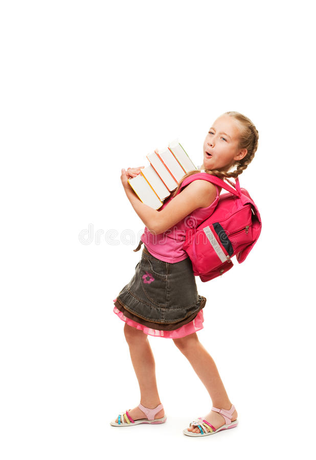 Happy little schoolgirl stock image