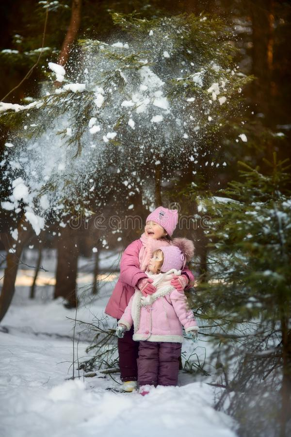 Happy little sisters have fun in snowy forest royalty free stock images