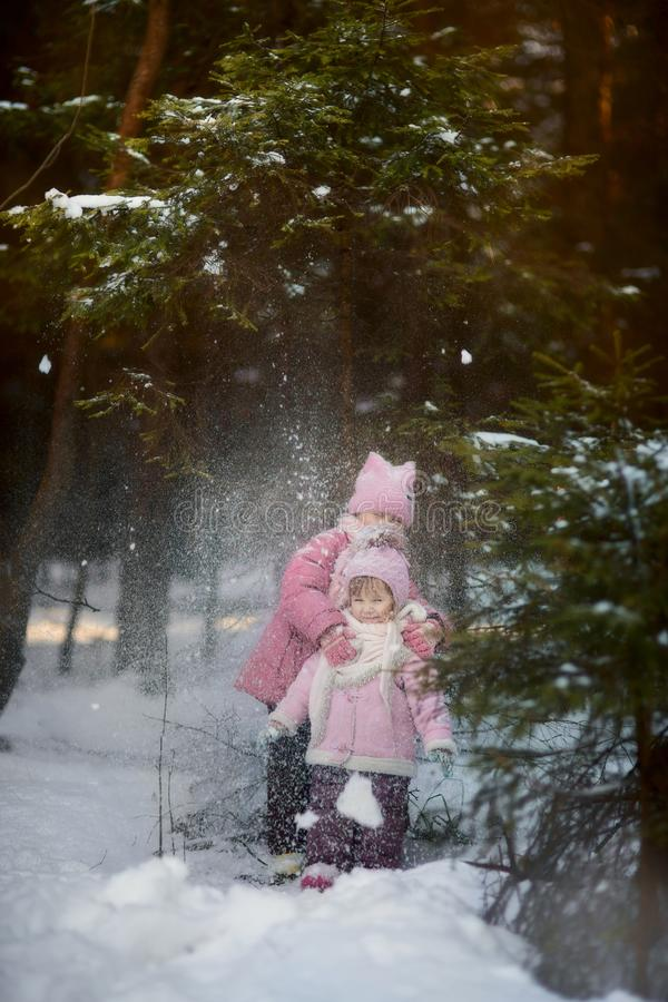 Happy little sisters have fun in snowy forest stock images