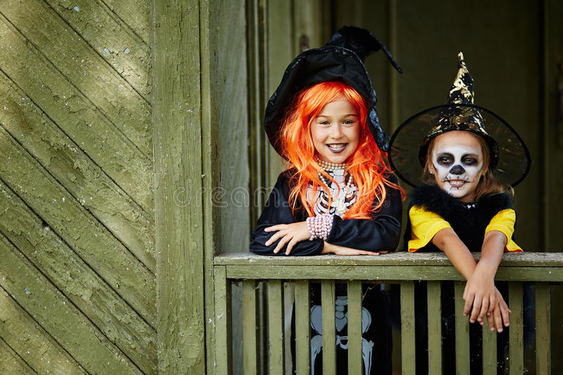 Happy little witches stock photos