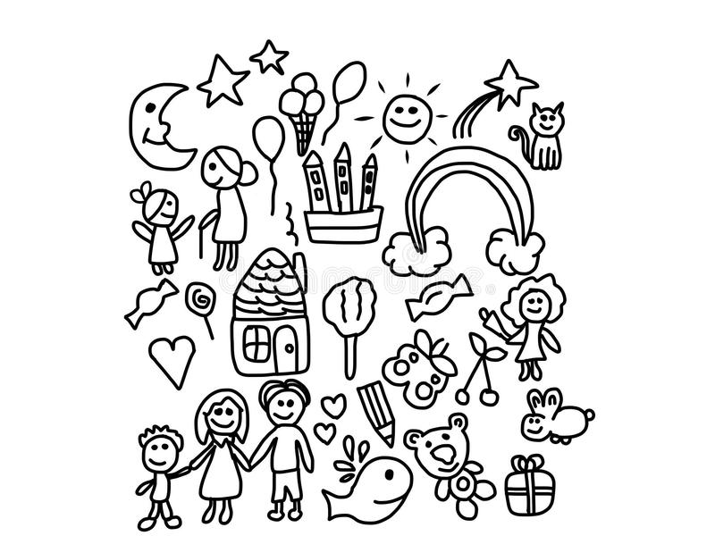 Happy Live Kids Coloring Pages Stock Illustration - Illustration of ...