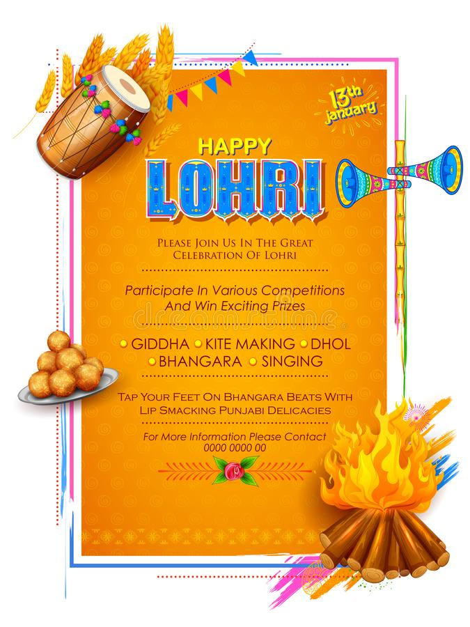Free Happy Lohri Holiday Background For Punjabi Festival Stock Images - 104300204