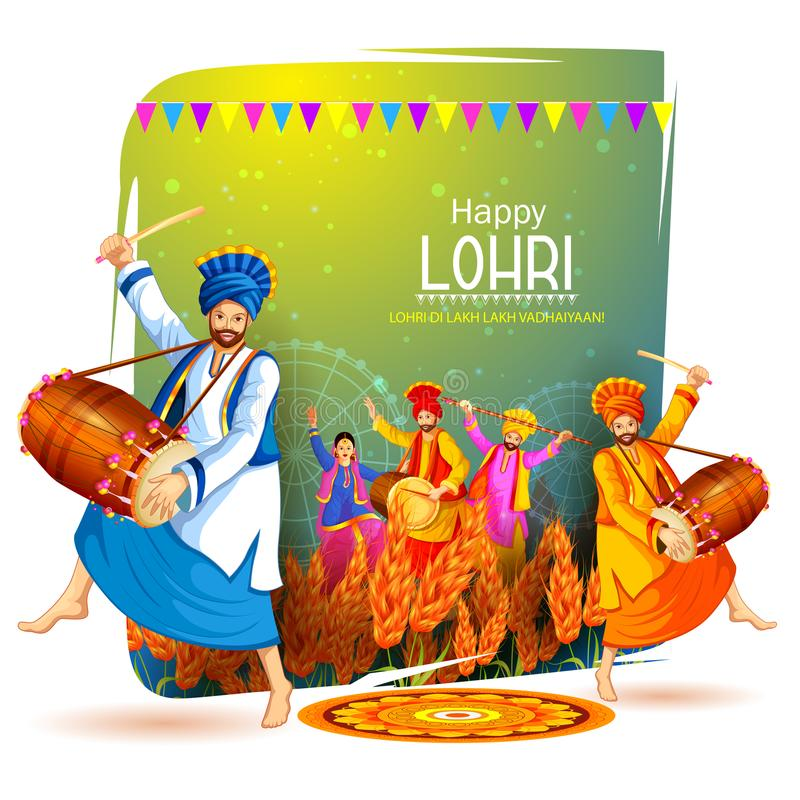 Happy Lohri holiday festival of Punjab India vector illustration