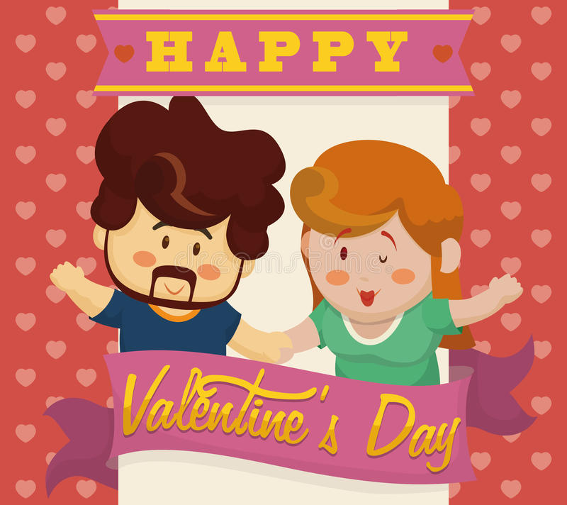 Happy In-love Couple Holding their Hands with Valentine's Ribbons, Vector Illustration stock images