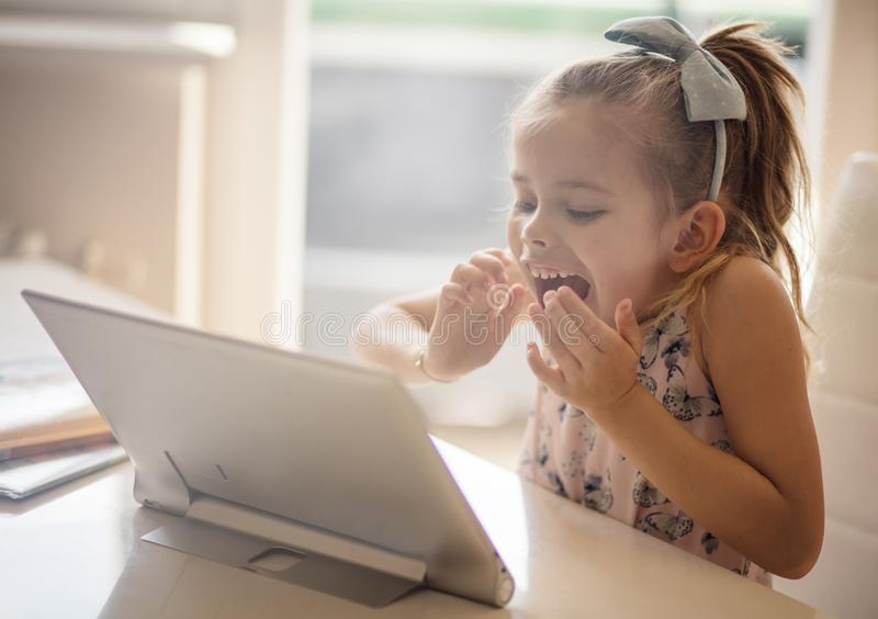She is happy, because she love to learning something new royalty free stock image