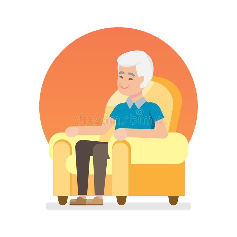 Happy lovely senior man sitting and relax on chair, Flat character vector illustration. vector illustration
