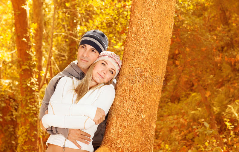 Download Happy Lovers In Autumn Park Stock Image - Image of embracing, couple: 27352179