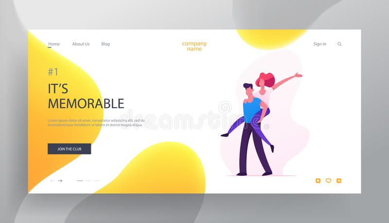 Happy Loving Couple Fooling, Playing Website Landing Page, Cheerful Woman Riding Man Back, Happiness, Rejoice, Human Relation vector illustration