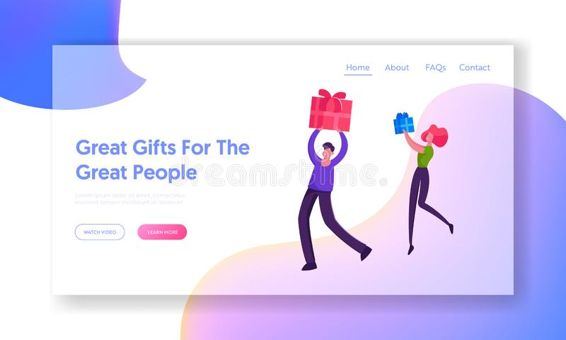 Happy Loving Couple or Friends Greetings Website Landing Page. Characters Prepare Presents on Winter Holidays stock illustration
