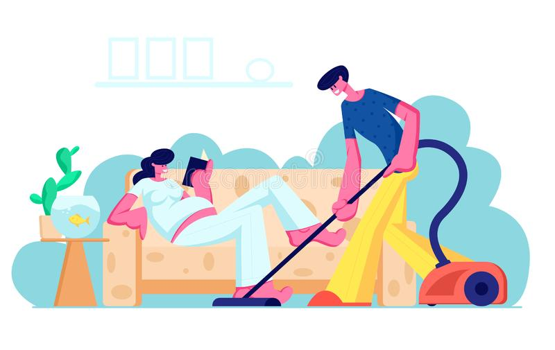 Happy Loving Couple Husband and Wife Prepare Become Parents. Man Vacuuming Floor, Pregnant Woman with Big Belly Reading vector illustration