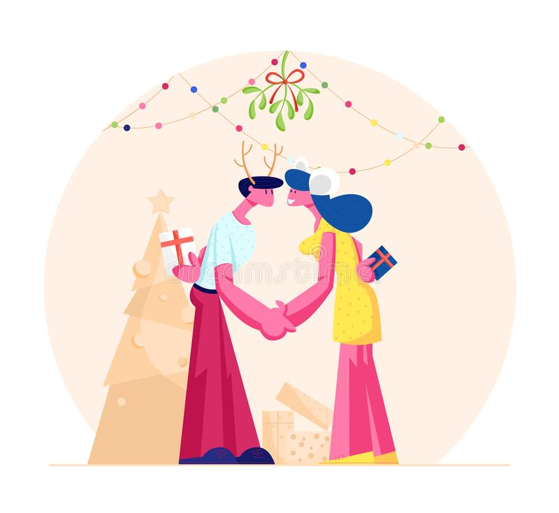 Happy Loving Couple Kissing and Holding Hands under Mistletoe Branch. Man and Woman in Festive Costumes with Gifts stock illustration