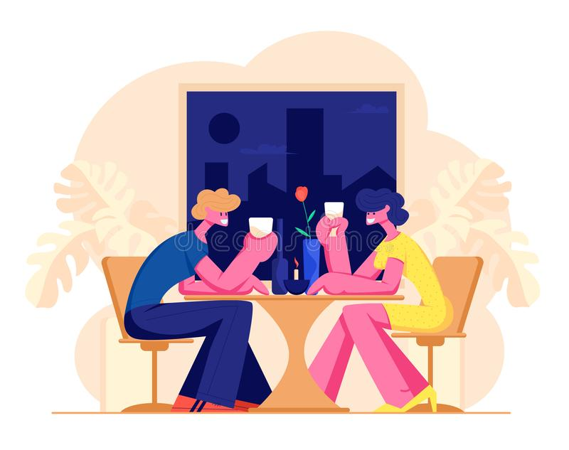 Happy Loving Couple of Male and Female Characters Dating in Restaurant. Declaration of Love, Young Man and Woman. Holding Glasses in Hands. Romantic Relations royalty free illustration
