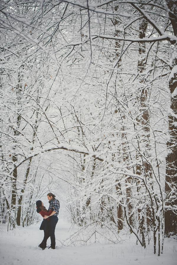 Happy loving couple. Outdoor seasonal activities. Lifestyle capture royalty free stock images