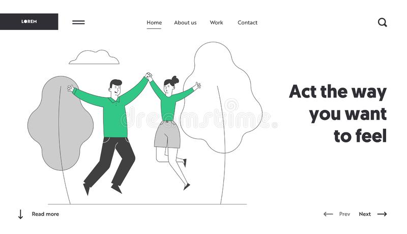 Happy Loving Couple Sparetime Website Landing Page. Cheerful Man and Woman Spend Time Together Rejoice. And Jumping with Hands Up Outdoors Web Page Banner royalty free illustration
