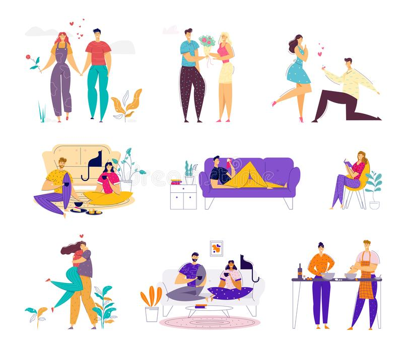Happy Loving Couple Spend Time Together on Weekend Set. Man and Woman Doing Home Household Activity. Dating and Meeting Outdoors, Relaxing and Cooking Having stock illustration