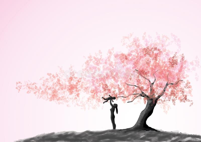 Happy loving family. Mother and child playing under love tree stock illustration