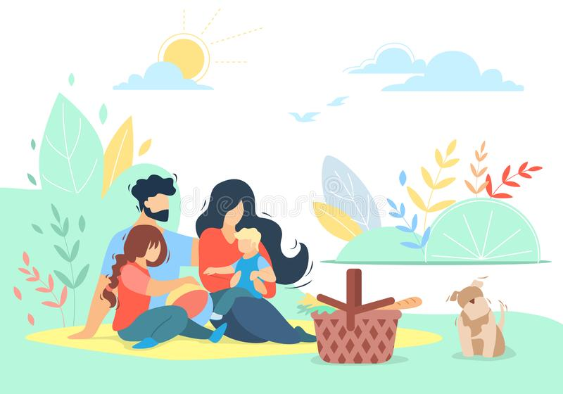Happy Loving Family Picnic, Kids, Love, Relations. Happy Loving Family of Mother, Father, Daughter and Son on Picnic with Pet Outdoors, Little Boy Sitting on Mom royalty free illustration