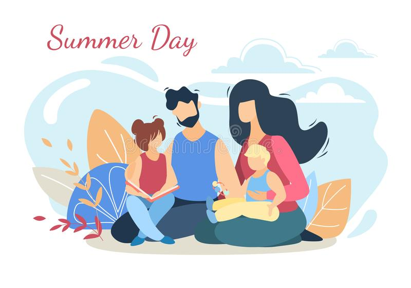 Happy Loving Family on Picnic at Summer Day Nature vector illustration
