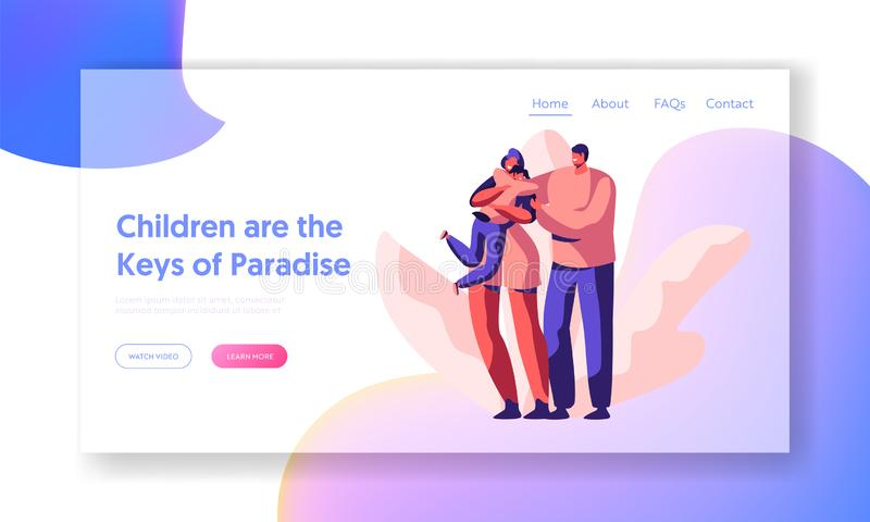 Happy Loving Parent and Children Landing Page. Mother Cuddle Carring Son Website or Web Page Father Hold Wife Shoulder stock illustration
