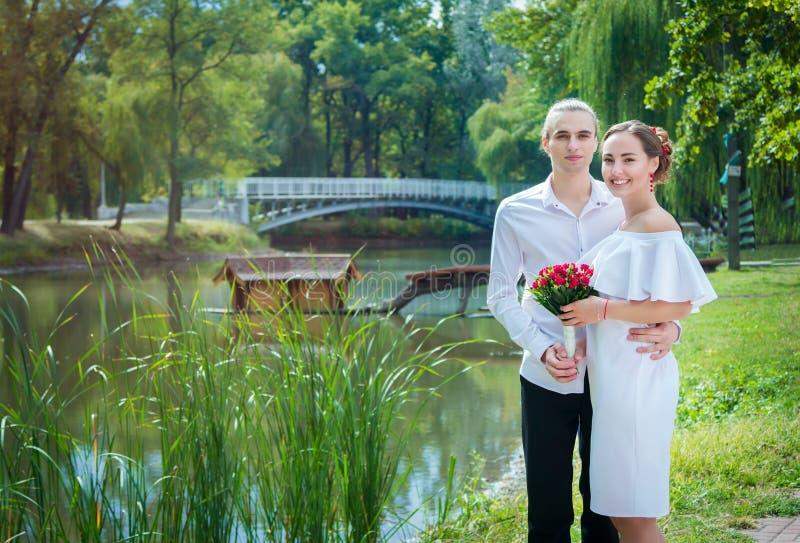 Happy loving wedding couple stock photo