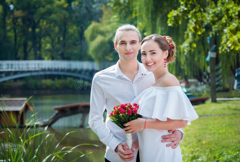 Happy loving wedding couple royalty free stock photography