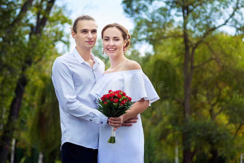 Happy loving wedding couple royalty free stock photo