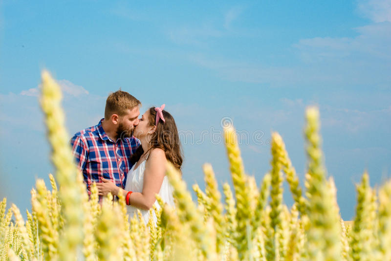 Happy loving young adult couple spending time on the field on sunny day. stock image